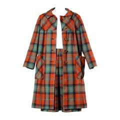 1960s I. Magnin Vintage Plaid Wool Swing Coat + Skirt Ensemble