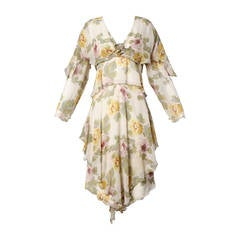 Holly's Harp Vintage Silk Floral Print Tiered Dress
