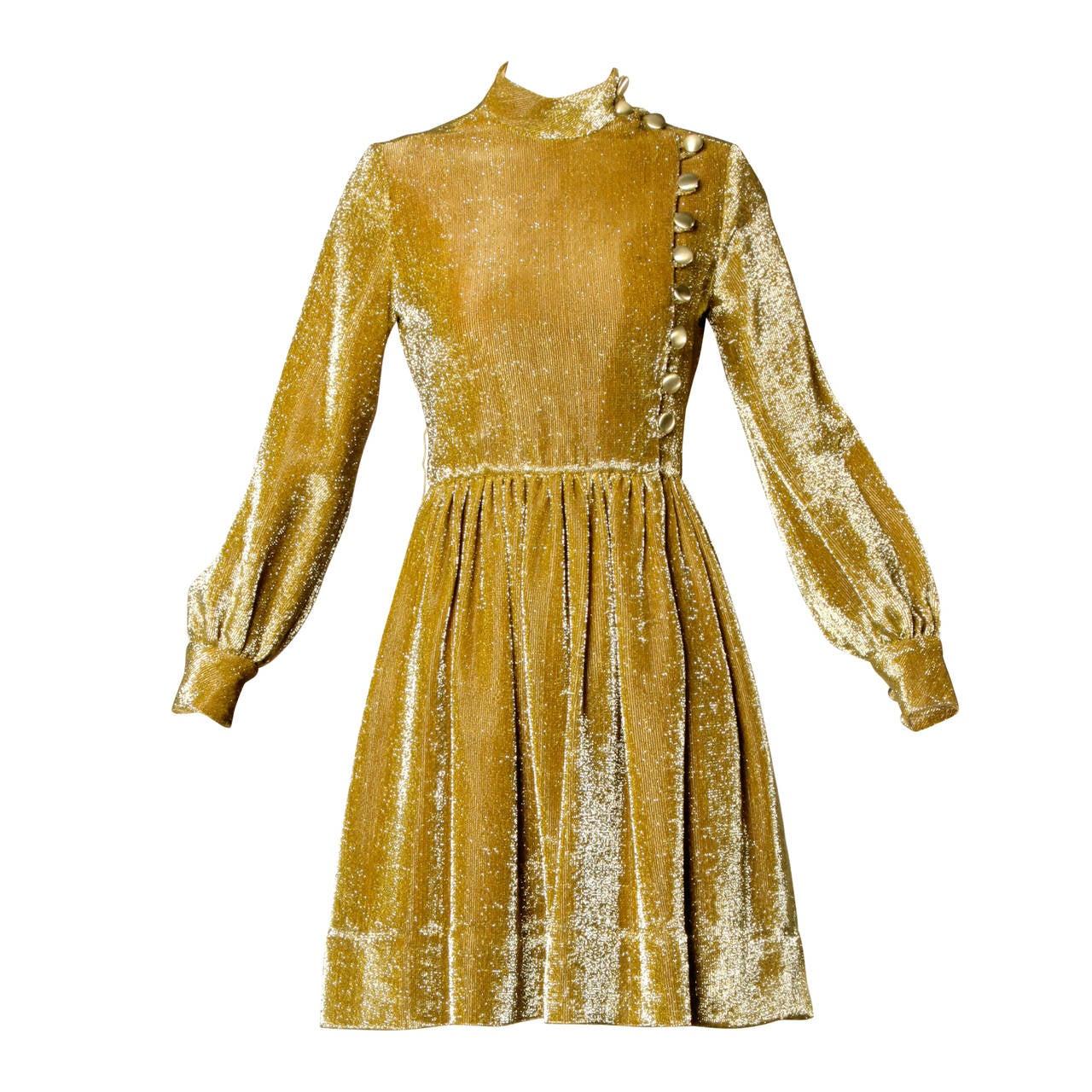 Mr. Mort Vintage 1960s Metallic Gold Lurex Coat Dress 1