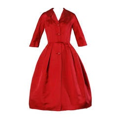 1950s Vintage New Look Red Dress with Starburst Buttons
