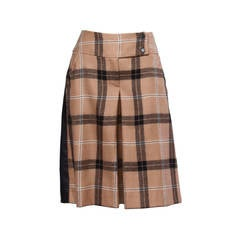 Dolce + Gabbana Black Buttery Leather + Wool Plaid Culottes Shorts/ Pants