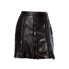 Unworn Vintage Moschino Black Leather  Zipper Skirt Original Tags Attached