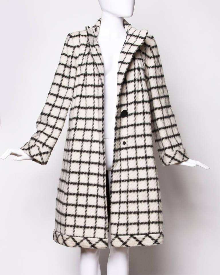 Pauline Trigere Vintage Black + White Wool Window Pane Mod Swing Coat 3