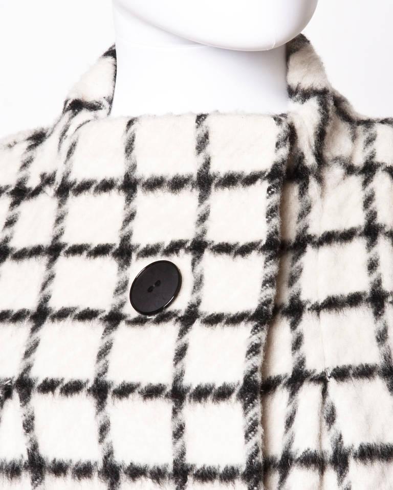 Pauline Trigere Vintage Black + White Wool Window Pane Mod Swing Coat 4
