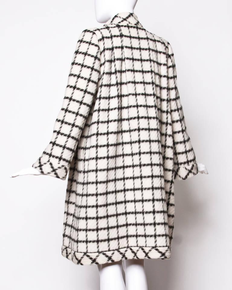 Pauline Trigere Vintage Black + White Wool Window Pane Mod Swing Coat 2
