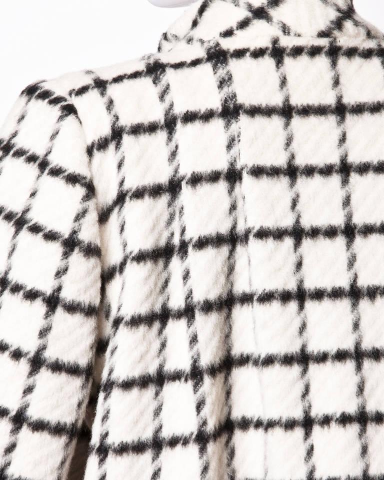 Pauline Trigere Vintage Black + White Wool Window Pane Mod Swing Coat 5