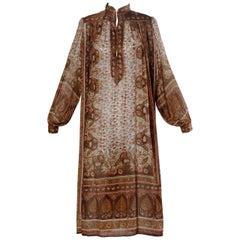Vintage 1970s Paper Thin 100% Sheer Silk Indian Hand-Block Print Dress