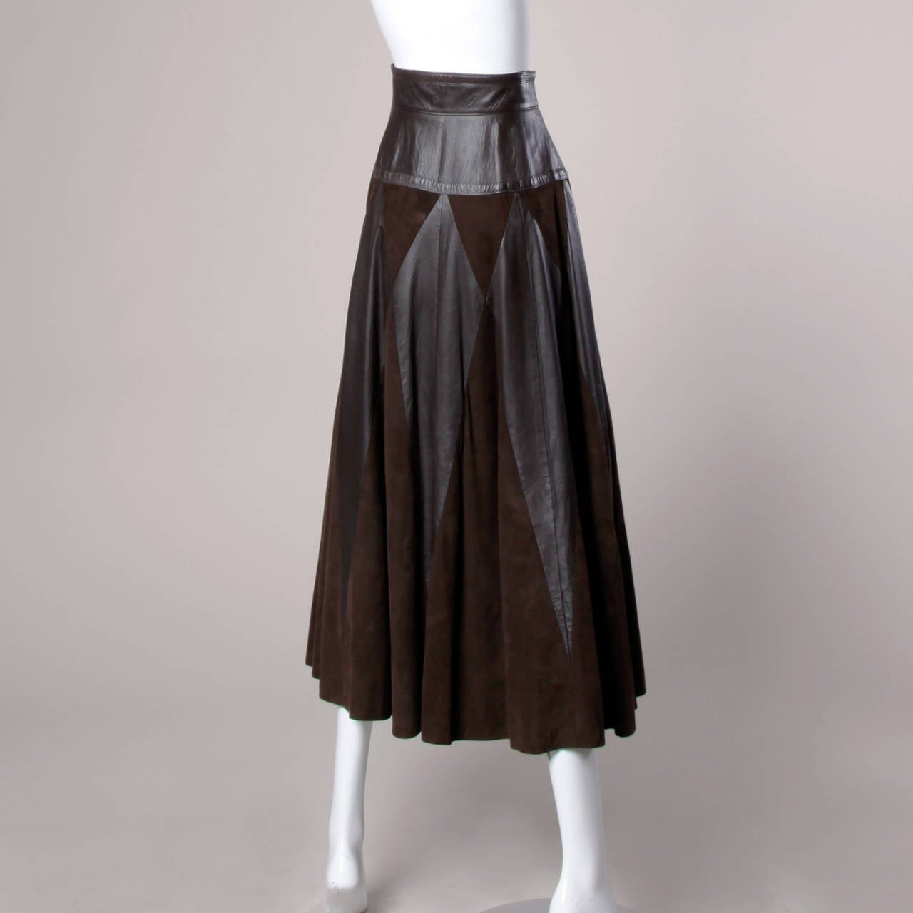 Vintage Soft Buttery Leather + Suede Patchwork Maxi Skirt with a Full Sweep In Excellent Condition For Sale In Sparks, NV