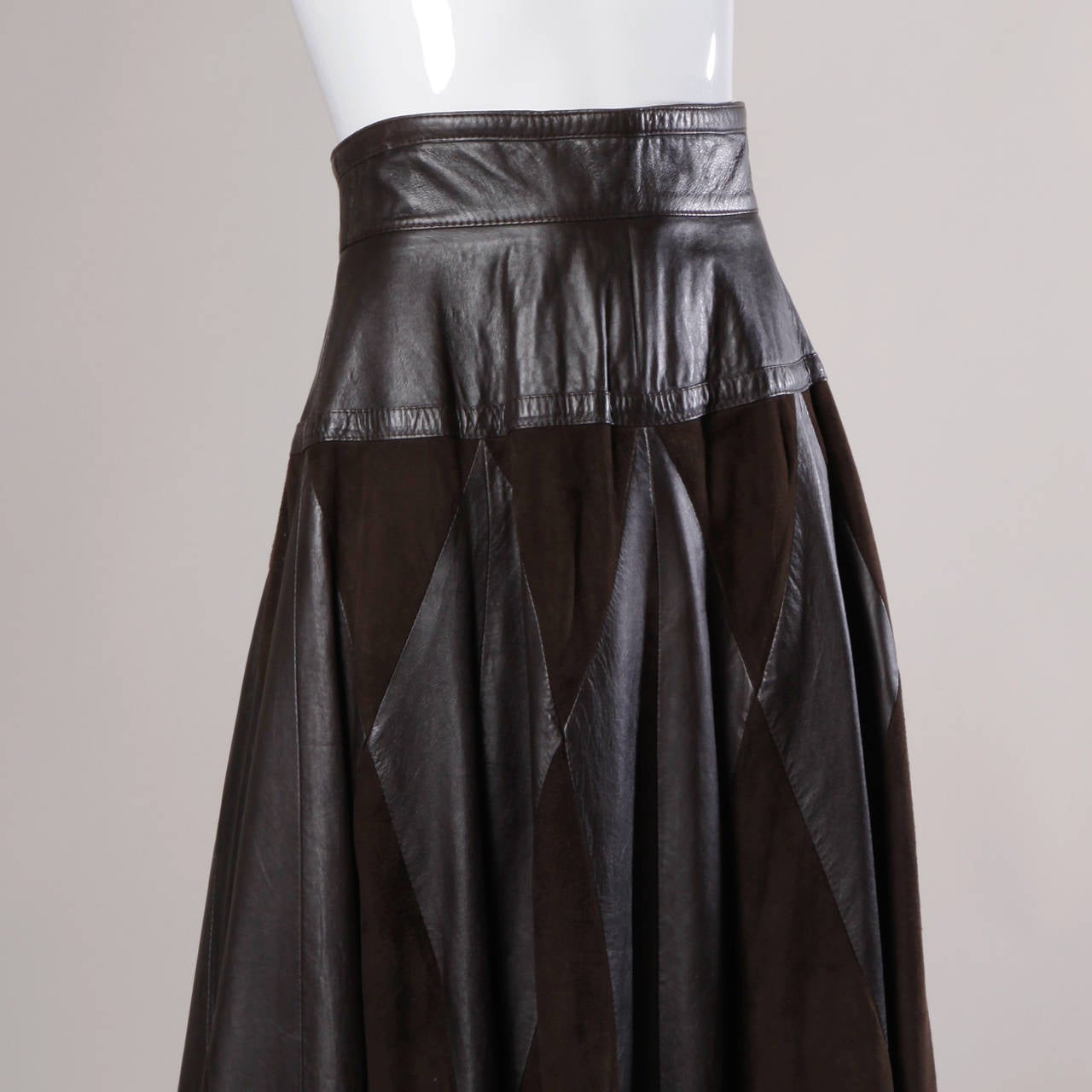 Vintage Soft Buttery Leather Suede Patchwork Maxi Skirt
