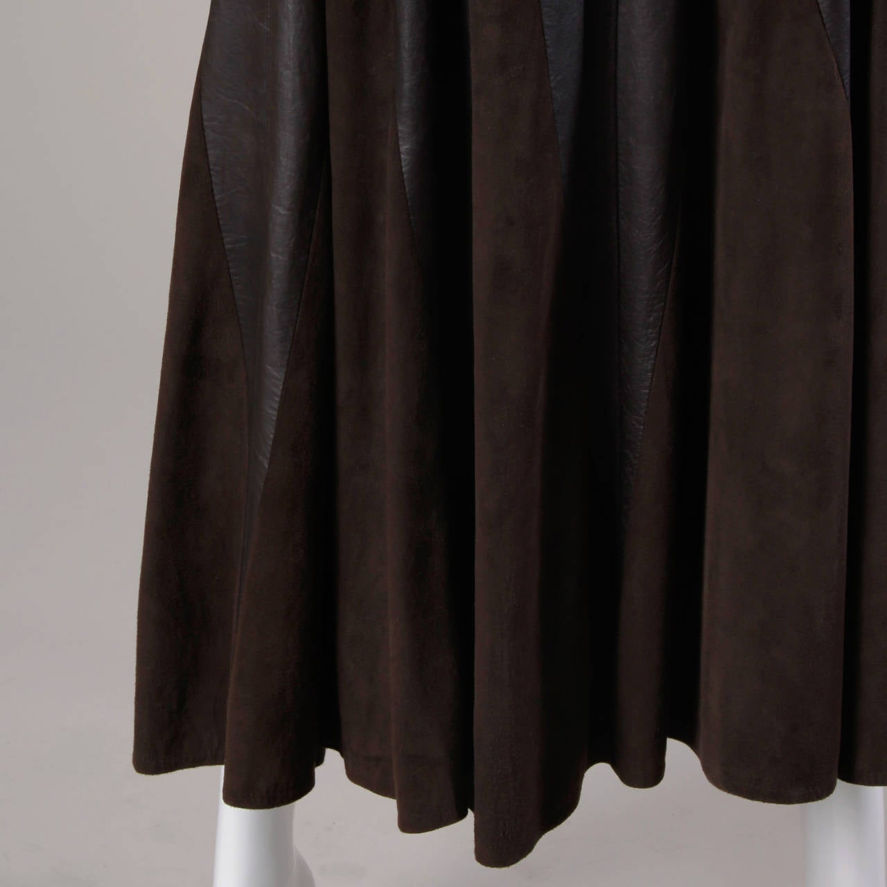 Vintage Soft Buttery Leather + Suede Patchwork Maxi Skirt with a Full Sweep For Sale 2