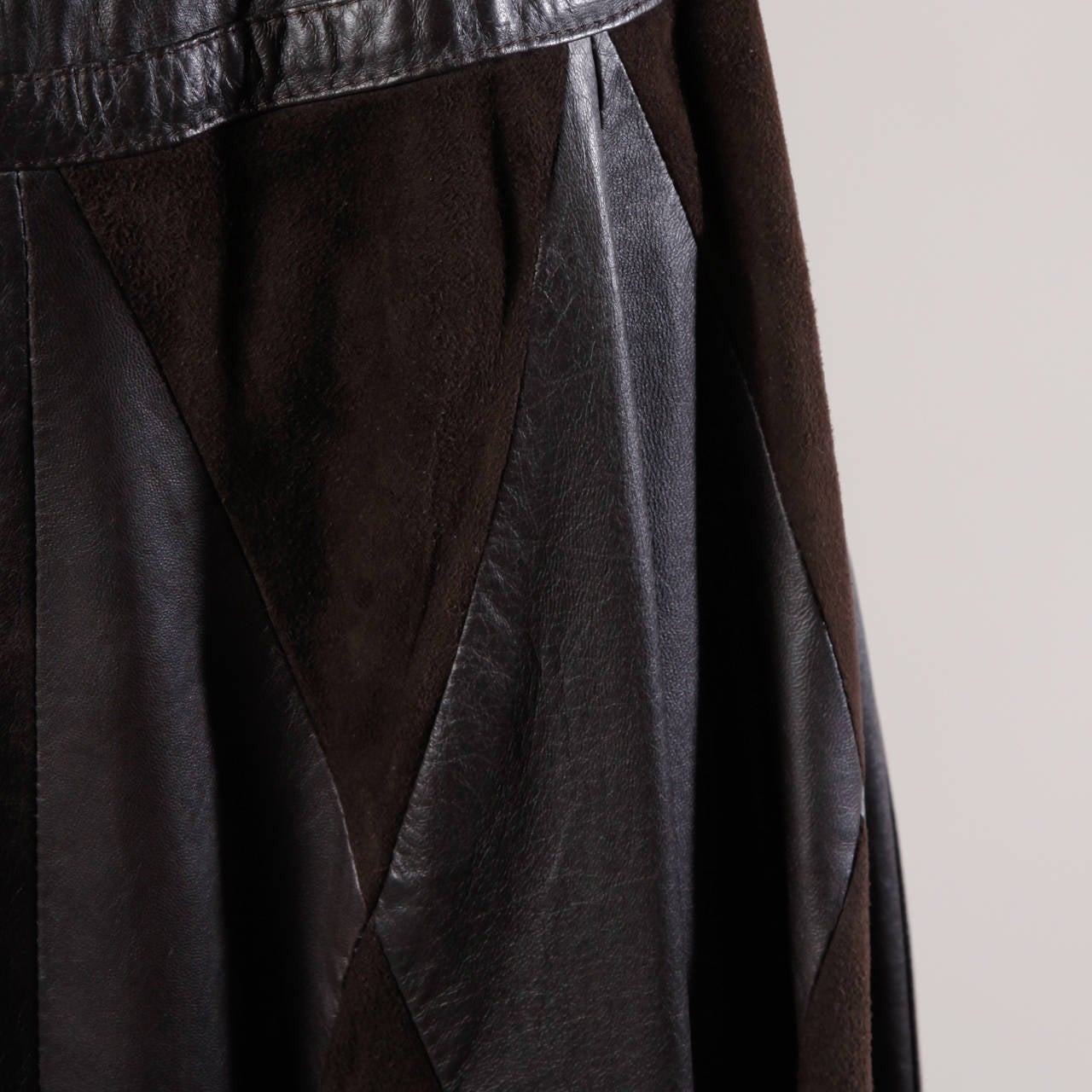 Women's Vintage Soft Buttery Leather + Suede Patchwork Maxi Skirt with a Full Sweep For Sale