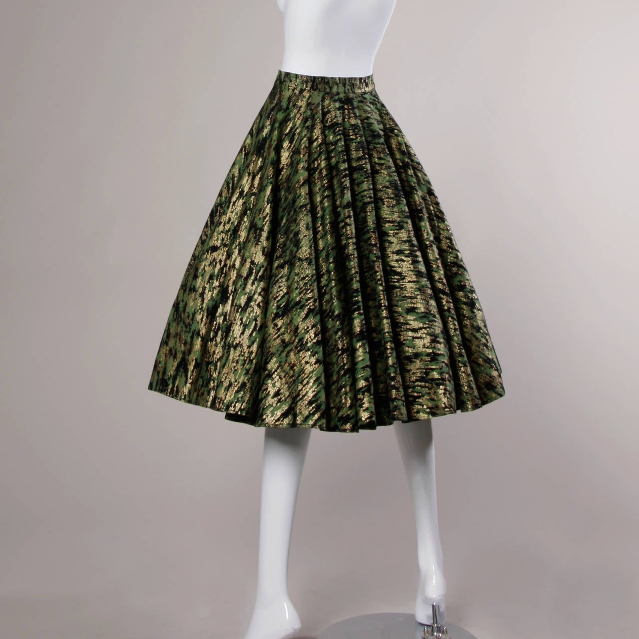 1950s Vintage Metallic Gold + Green Hand Screenprint Swing Skirt 3