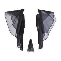 Werle Vintage 1960s 60s Unique Black Sheer Silk Cape Coat or Opera Jacket