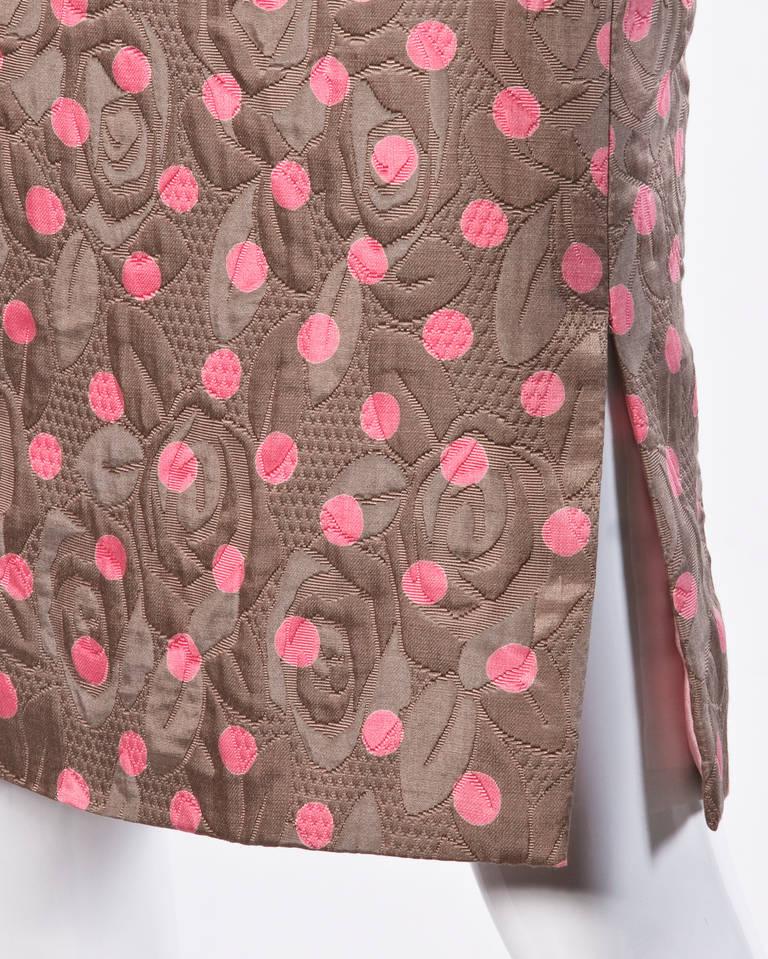 Brown Bill Blass Vintage Quilted Silk Pink Polka Dot Jacket + Skirt Dress Suit For Sale