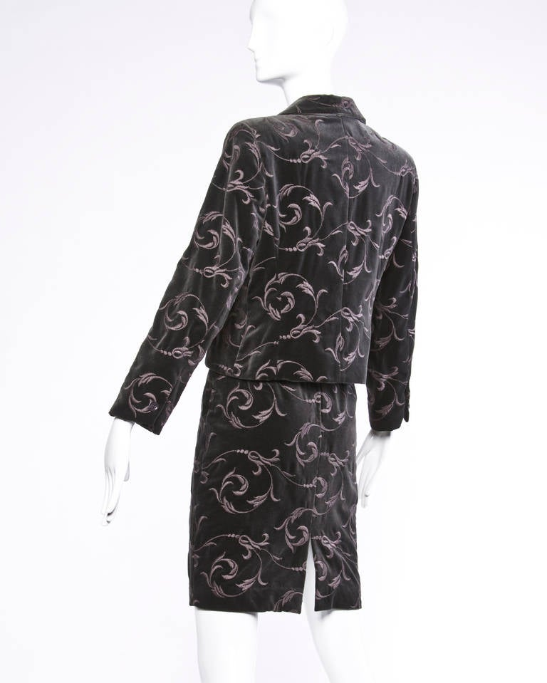 Black Burberry's Vintage Gray Embroidered Velvet Jacket + Skirt Dress Suit For Sale