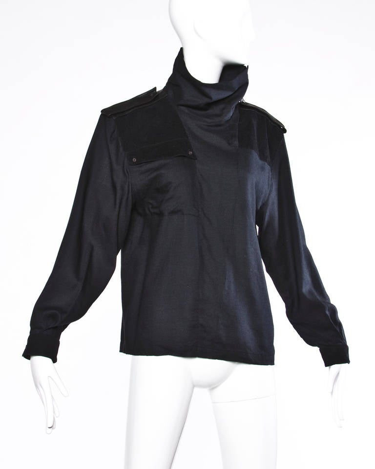 Claude Montana Vintage 80s 1980s Black Wool + Leather Avant Garde Top 3