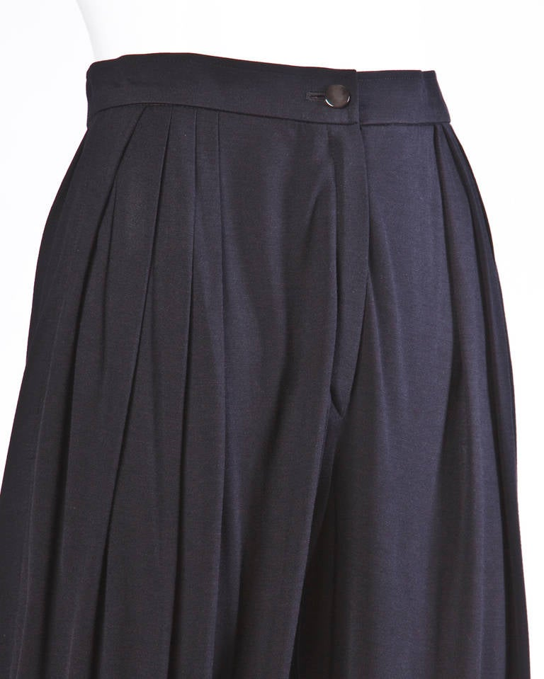 Ungaro Black Draped Vintage Harem Pants with Pleated Front 5