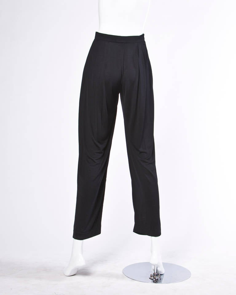 Ungaro Black Draped Vintage Harem Pants with Pleated Front 4