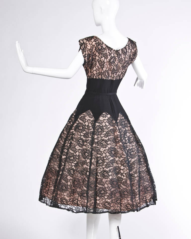 Vintage 50s 1950s Nude Illusion Black Lace + Rhinestone Party Dress 3