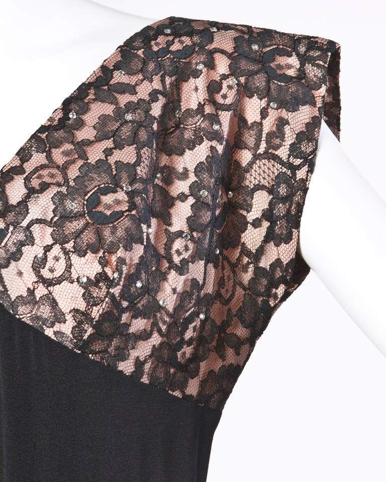 Vintage 50s 1950s Nude Illusion Black Lace + Rhinestone Party Dress 2