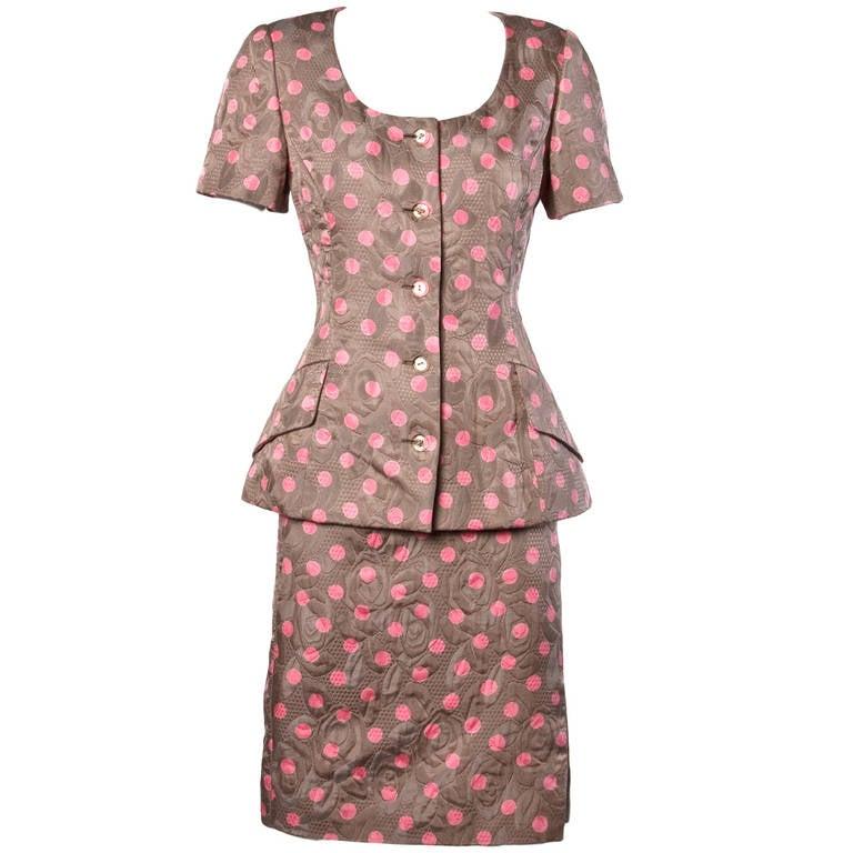 Bill Blass Vintage Quilted Silk Pink Polka Dot Jacket + Skirt Dress Suit