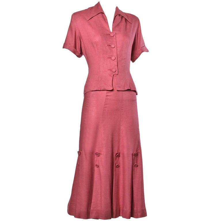 Vintage 1940s 40s Dusty Rose Linen Jacket + Skirt Dress Suit
