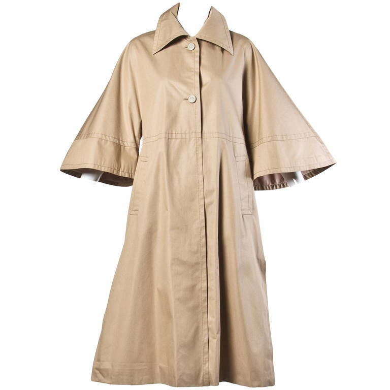 Ted Lapidus Vintage 1970s 70s Khaki Rain Coat With Cape