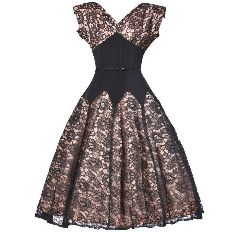 Vintage 50s 1950s Nude Illusion Black Lace + Rhinestone Party Dress 1