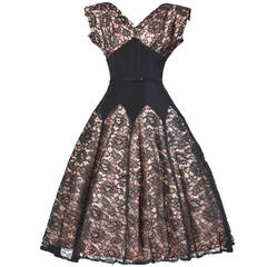 Vintage 50s 1950s Nude Illusion Black Lace + Rhinestone Party Dress