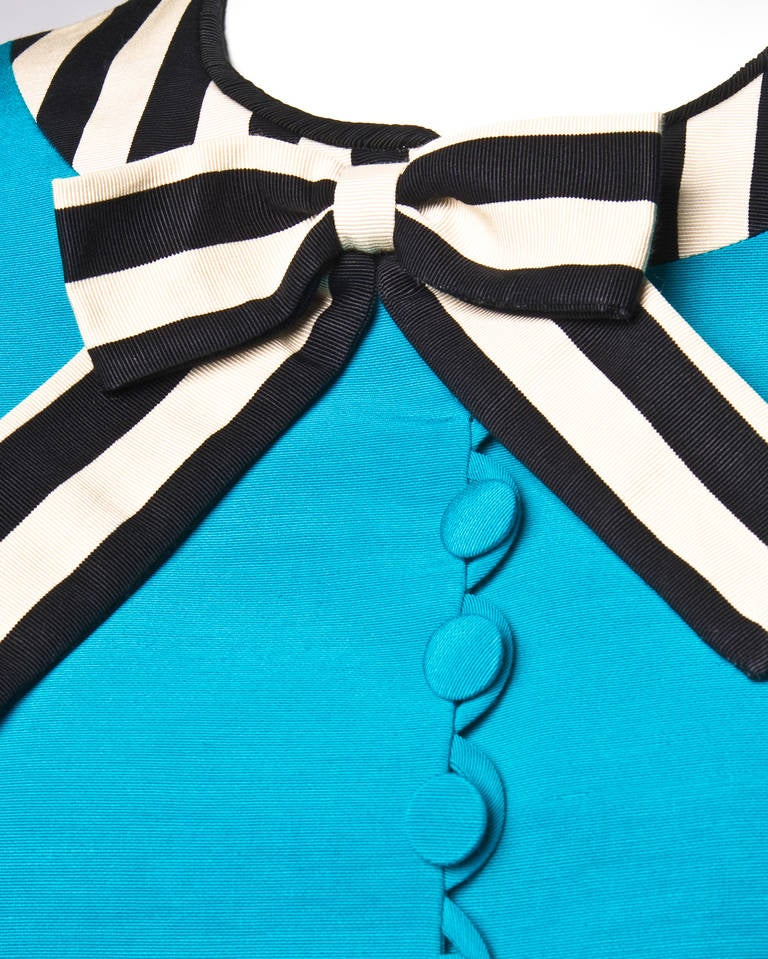 Moschino Vintage 1990s 90s Striped Tie Skirt Suit in Blue Black + White 3