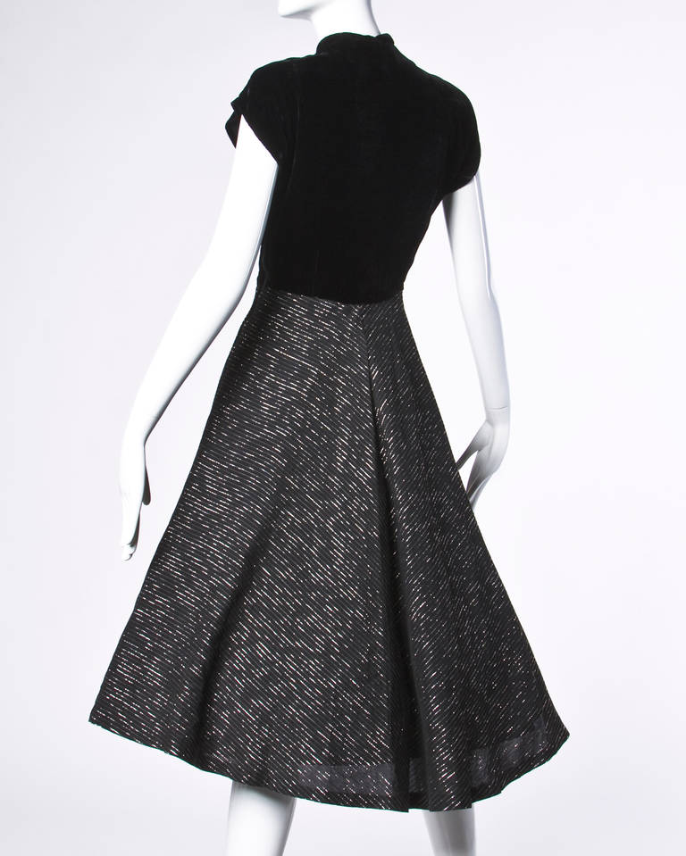 Vintage 1940s 40s Metallic Gold + Black Cocktail Dress with a Full Sweep 2