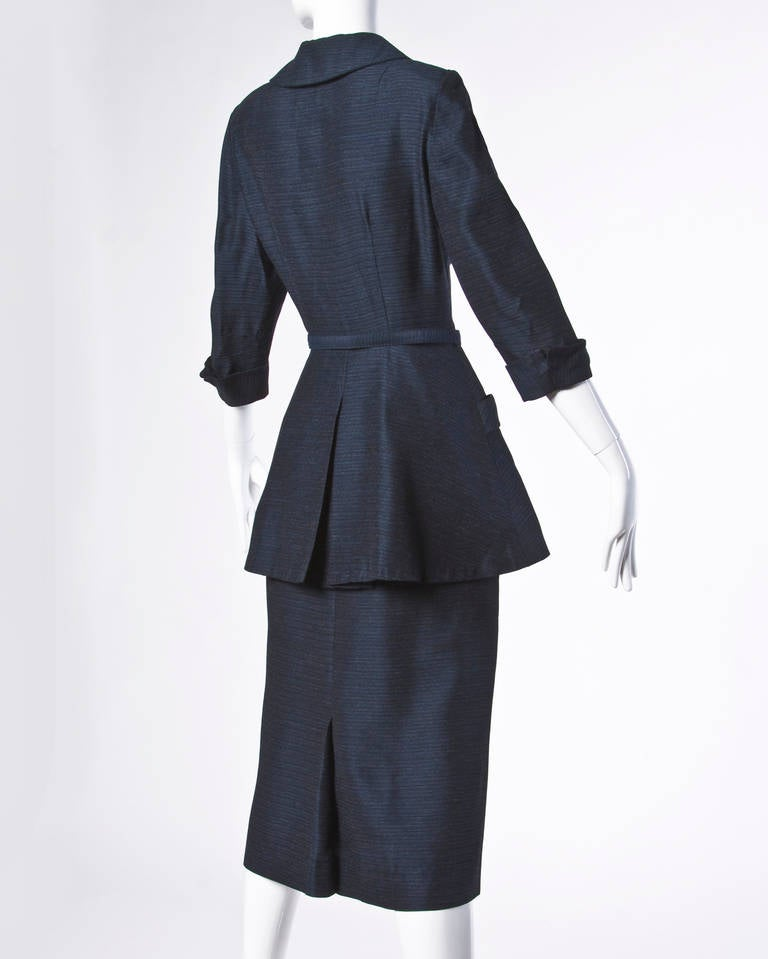 Black Vintage 1950s 50s Navy Wool & Silk Skirt Suit 3-Piece Ensemble For Sale