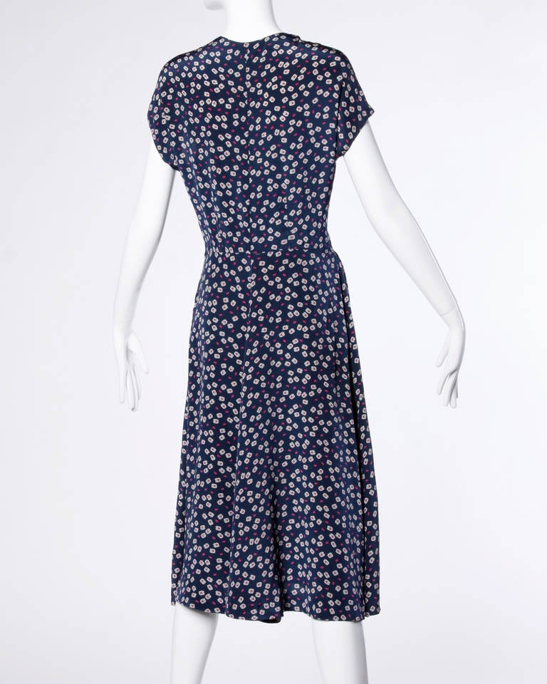 Vintage 1930s 30s Hand Screen-Printed Floral Silk Dress 4