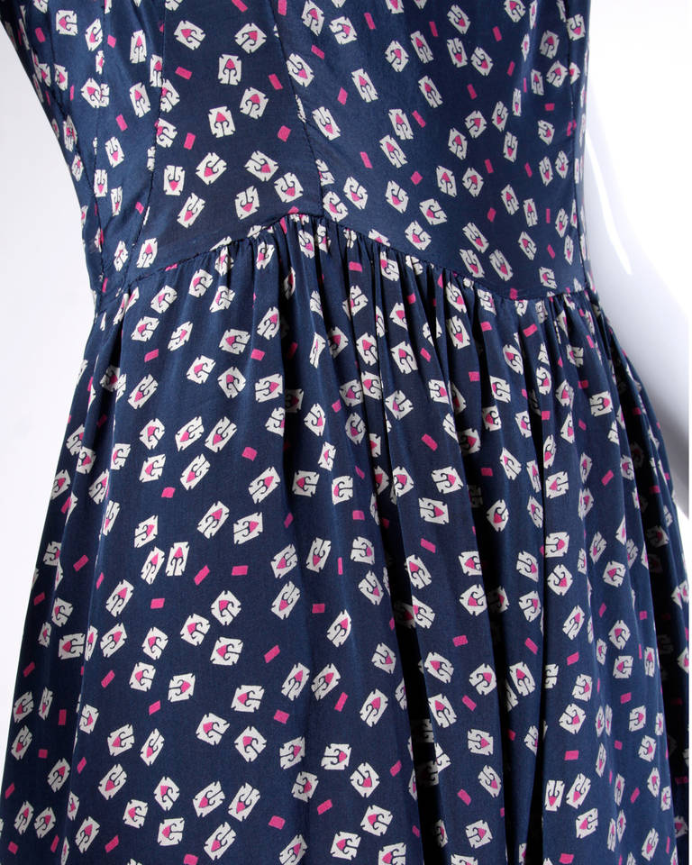 Vintage 1930s 30s Hand Screen-Printed Floral Silk Dress 3
