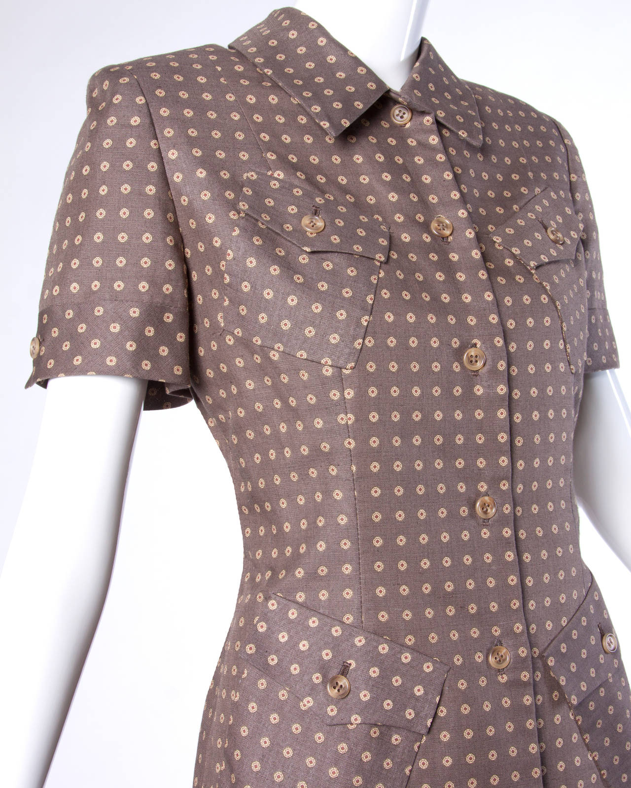 Brown wool tailored skirt suit with the original tags still attached! By Bill Blass.  Details:  Fully Lined Shoulder Pads Sewn Into Lining Button Closure on Jacket/ Side Zip and Hook Closure on Skirt Marked Size: 10 Estimated Size: