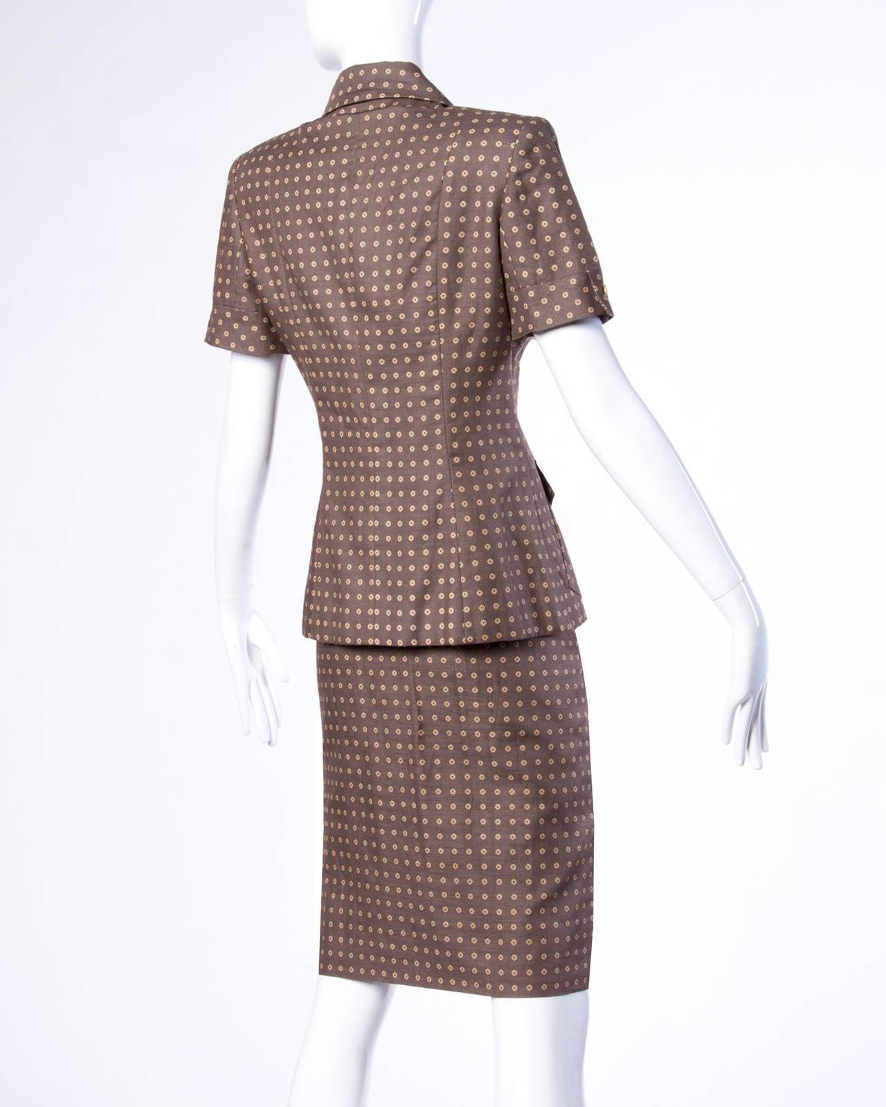 Gray Bill Blass Unworn Deadstock Vintage Wool Jacket + Skirt Suit For Sale