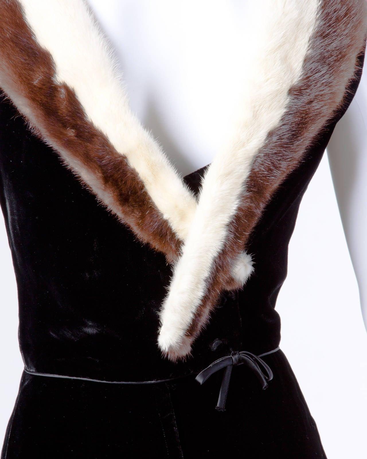 Women's Vintage 1960s 60s Black Velvet Sheath Dress with Mink Fur Trim For Sale