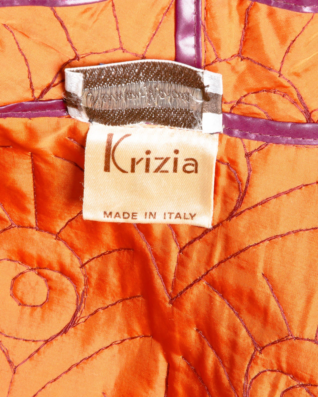 Krizia for Neiman Marcus Vintage 1980s 80s Quilted Purple + Orange Coat For Sale 1
