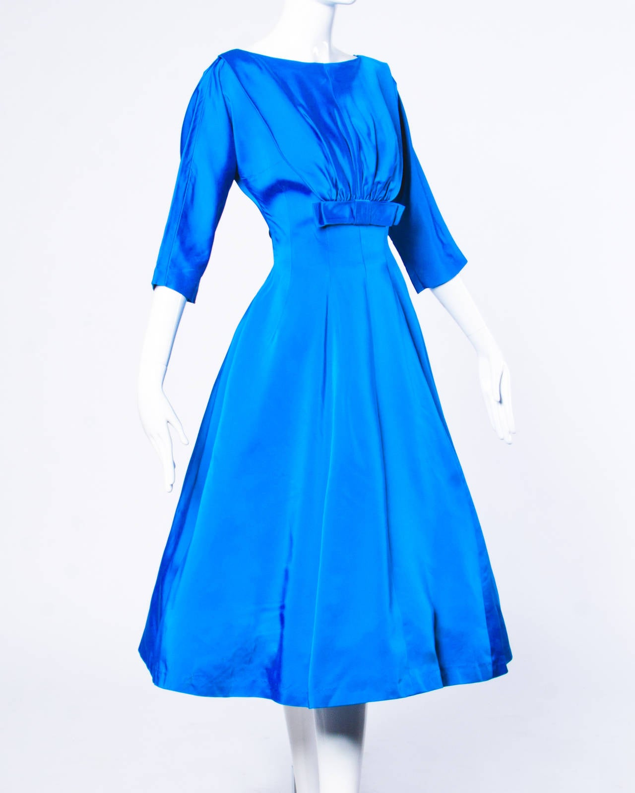 Vintage 1960s 60s Blue Satin Full Sweep Party Dress with Bow 2