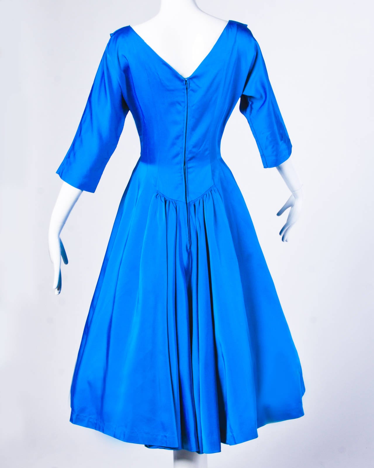 Vintage 1960s 60s Blue Satin Full Sweep Party Dress with Bow 4