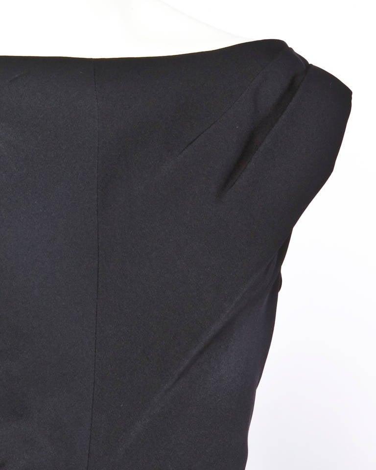 Jane Andre Vintage 1960s 60s Unique Black Silk Wiggle Dress 4