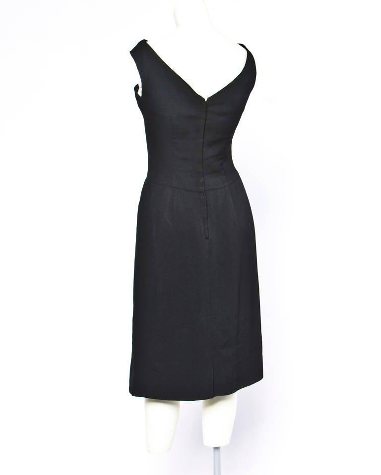Jane Andre Vintage 1960s 60s Unique Black Silk Wiggle Dress 2