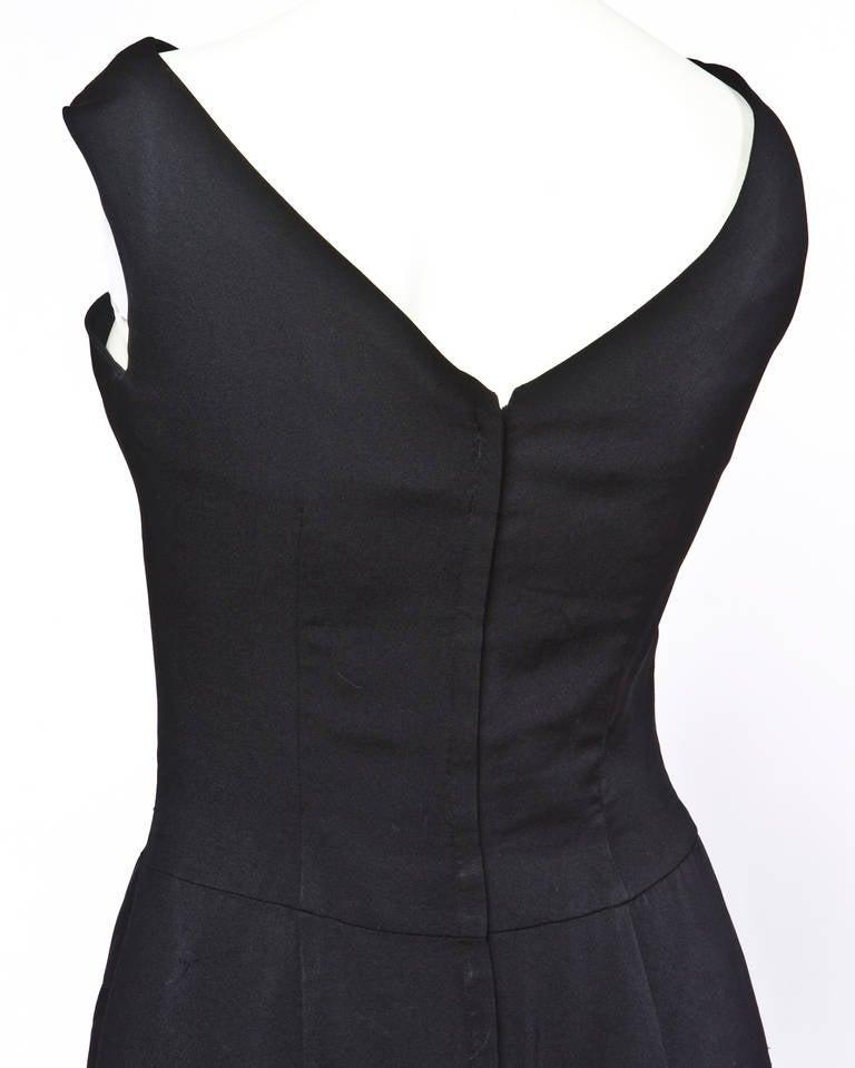 Jane Andre Vintage 1960s 60s Unique Black Silk Wiggle Dress 5