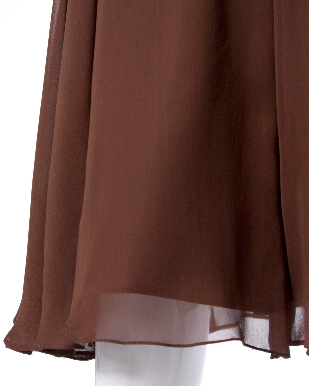 Carolina Herrera Vintage Brown Silk Chiffon Wide Leg Shorts/ Skirt 5