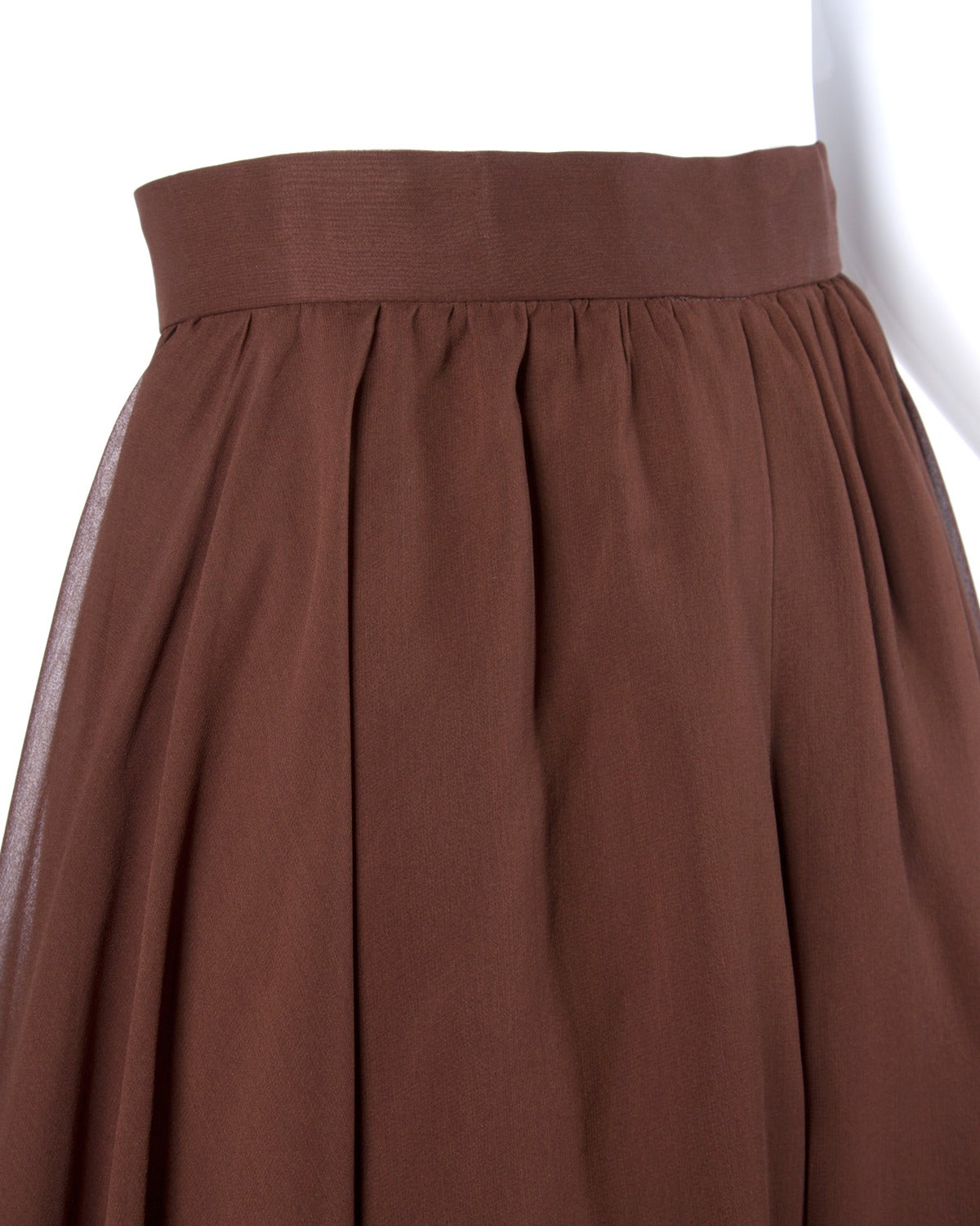 Carolina Herrera Vintage Brown Silk Chiffon Wide Leg Shorts/ Skirt 3