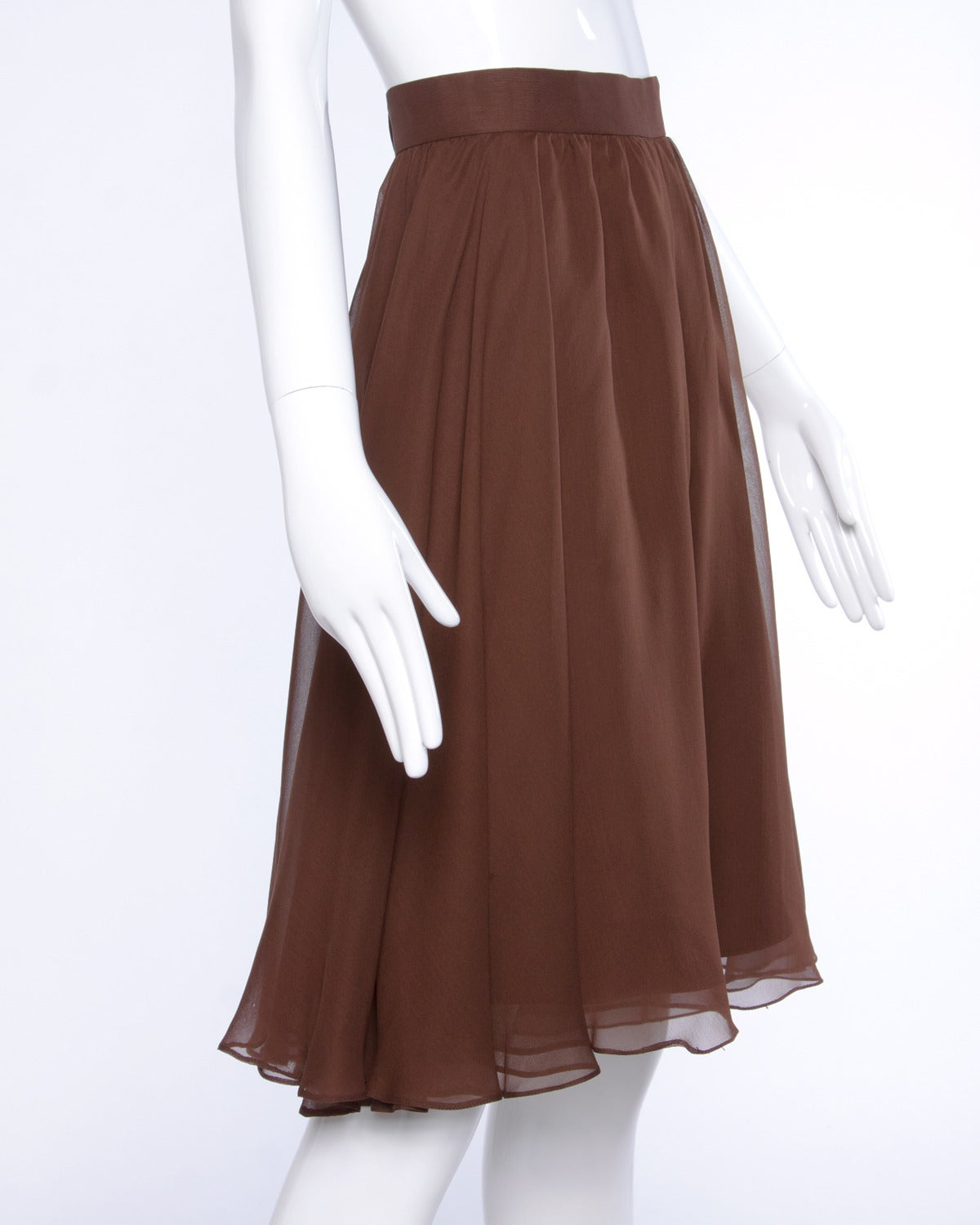 Carolina Herrera Vintage Brown Silk Chiffon Wide Leg Shorts/ Skirt 2
