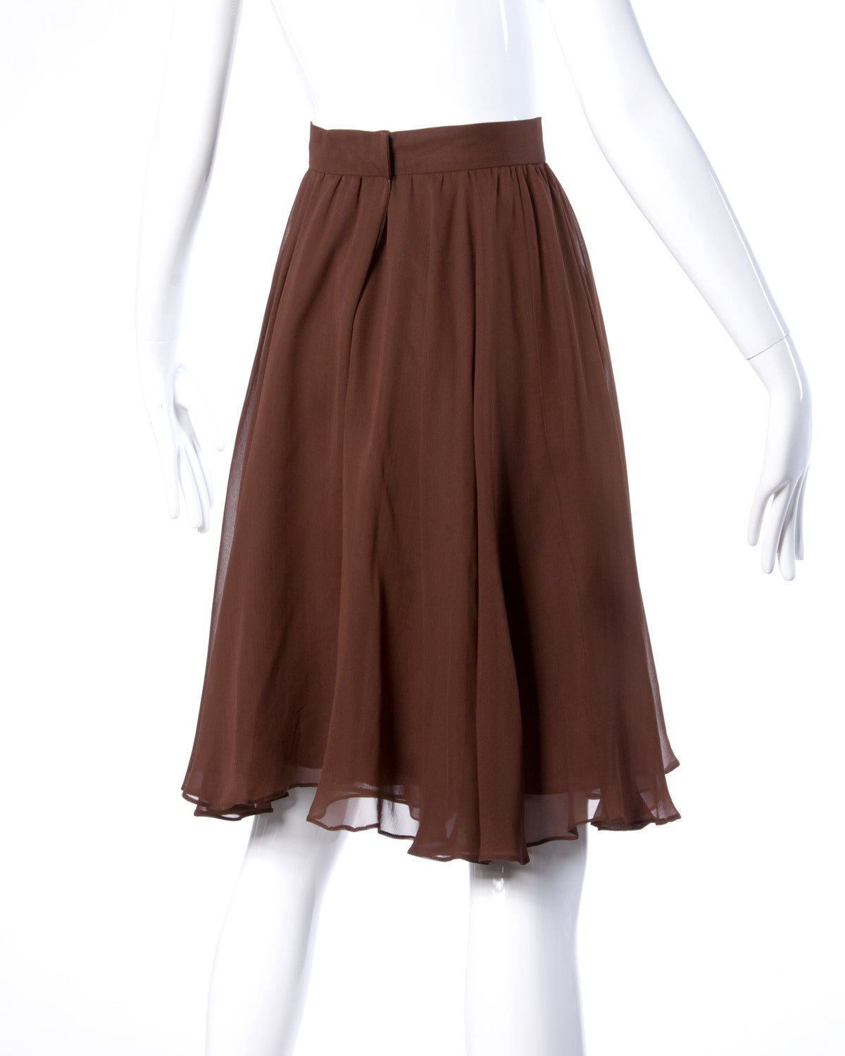 Carolina Herrera Vintage Brown Silk Chiffon Wide Leg Shorts/ Skirt 4