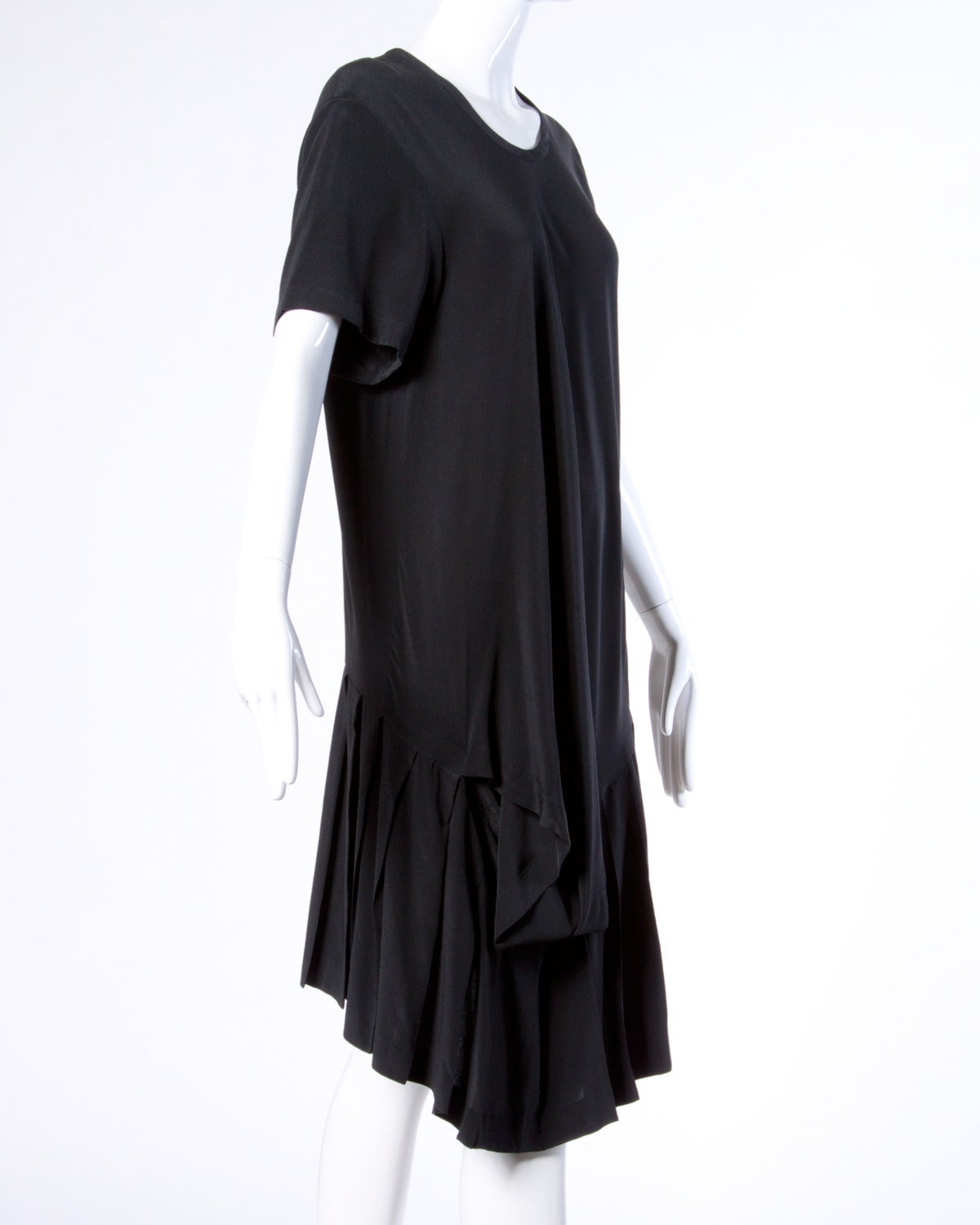 comme des garcons vintage black silk asymmetric avant garde midi dress at 1stdibs. Black Bedroom Furniture Sets. Home Design Ideas