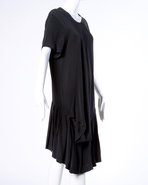 comme des garcons vintage black silk asymmetric avant garde midi dress at 1stdibs. Black Bedroom Furniture Sets. Home Design Ideas