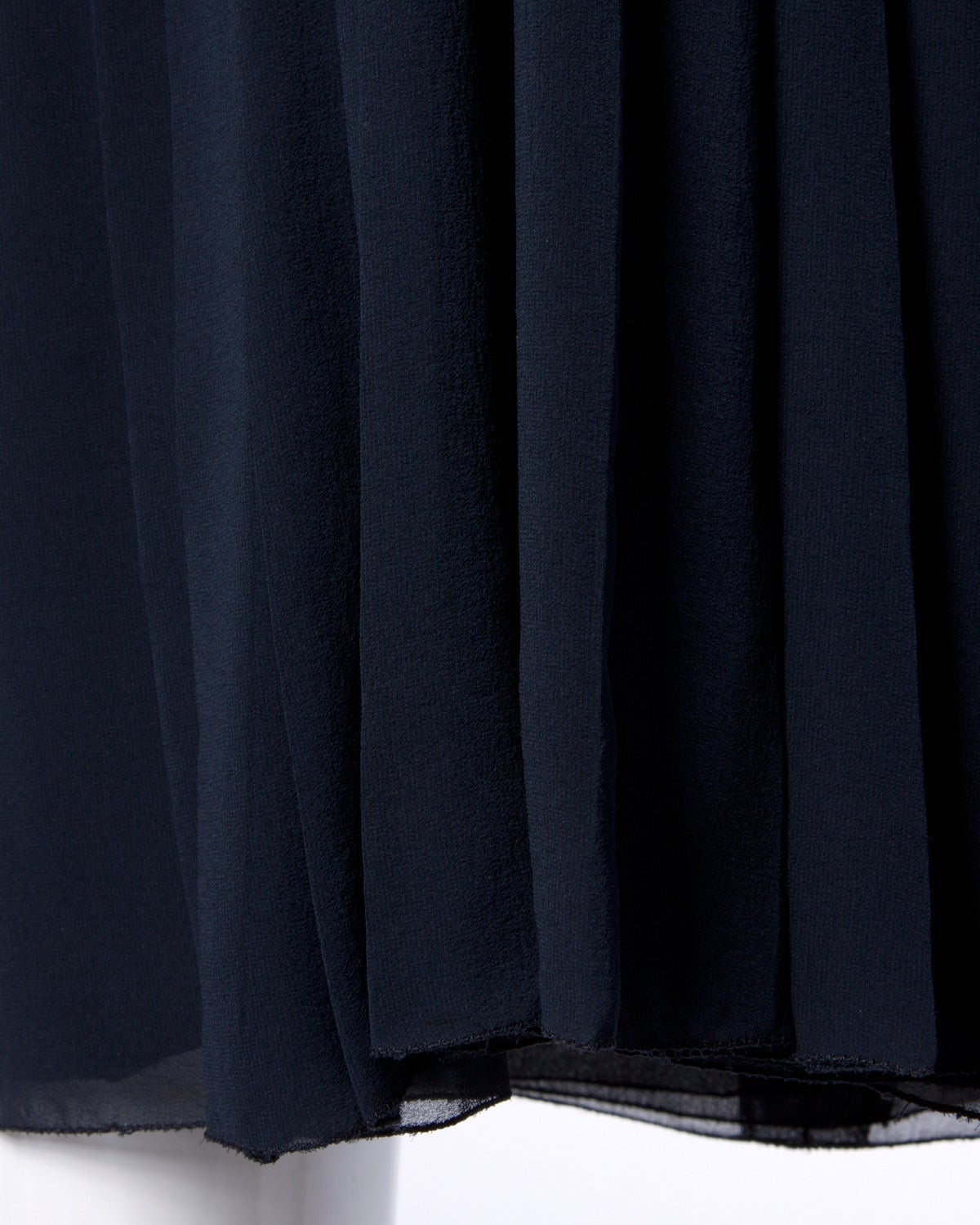Chanel Vintage Navy Blue Pleated Silk Chiffon Skirt 5